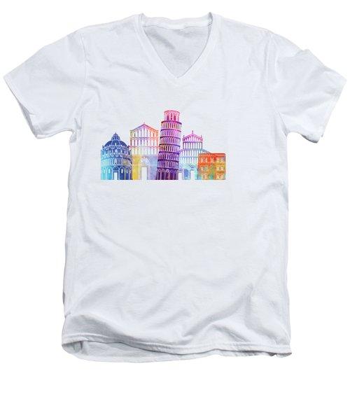 Barcelona Landmarks Watercolor Poster Men's V-Neck T-Shirt