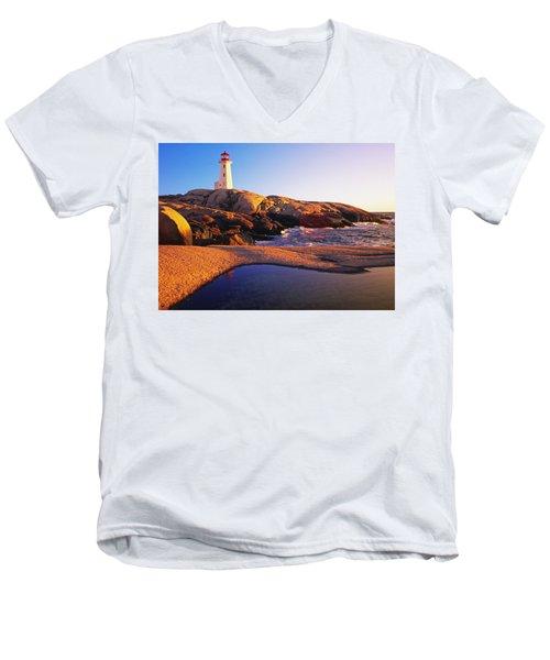 Peggy's Point Lighthouse, Nova Scotia Men's V-Neck T-Shirt