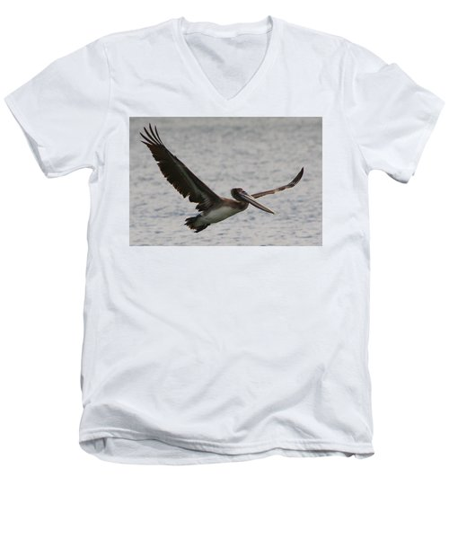 Men's V-Neck T-Shirt featuring the photograph Pelican In Flight by Laurel Talabere