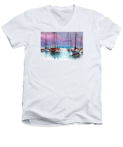 Men's V-Neck T-Shirt featuring the painting Phang-nga Bay by Ed Heaton