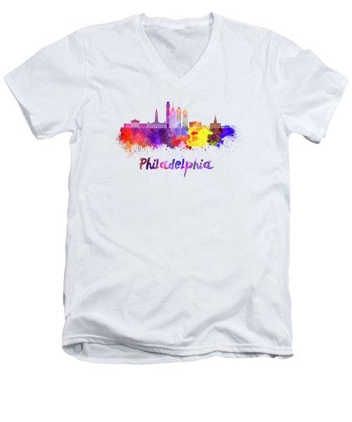 Philadelphia Skyline In Watercolor Men's V-Neck T-Shirt by Pablo Romero