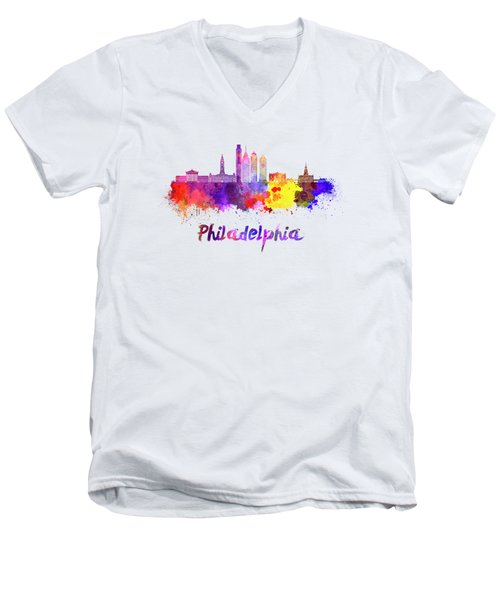 Philadelphia Skyline In Watercolor Men's V-Neck T-Shirt