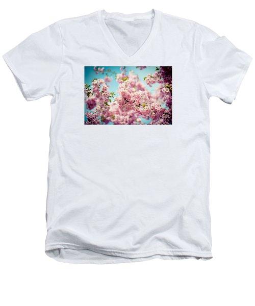 Pink Cherry Blossoms Sakura Men's V-Neck T-Shirt