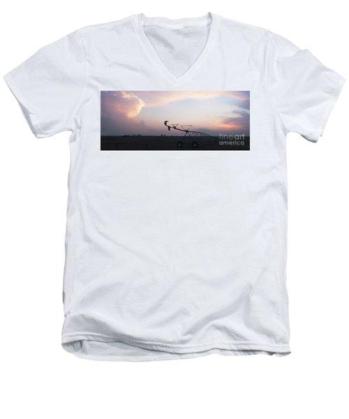 Pivot Irrigation And Sunset Men's V-Neck T-Shirt by Art Whitton