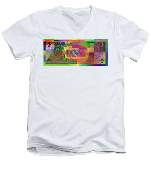Pop-art Colorized One U. S. Dollar Bill Reverse Men's V-Neck T-Shirt by Serge Averbukh