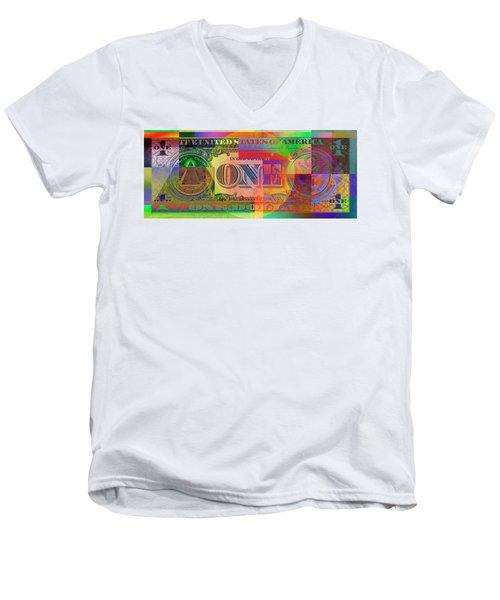 Pop-art Colorized One U. S. Dollar Bill Reverse Men's V-Neck T-Shirt by Serge Averbukh