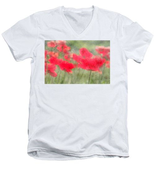 Poppies Men's V-Neck T-Shirt by Catherine Alfidi