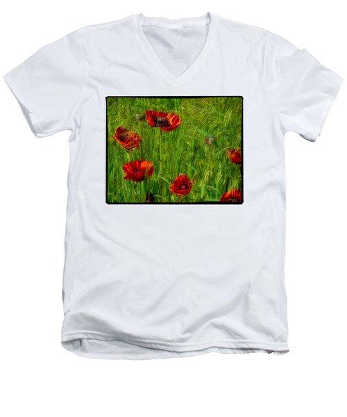 Poppies Men's V-Neck T-Shirt by Hugh Smith