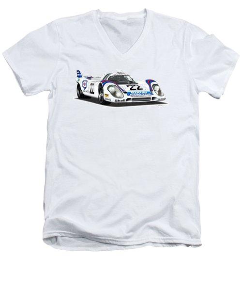Porsche 917 Illustration Men's V-Neck T-Shirt by Alain Jamar