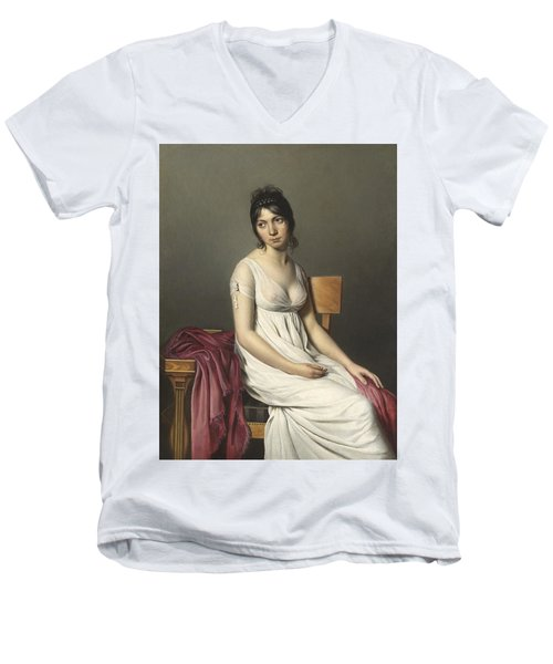 Portrait Of A Young Woman In White Men's V-Neck T-Shirt