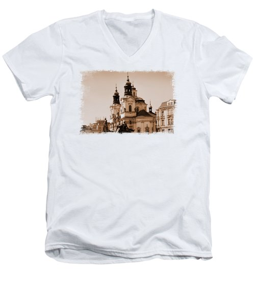 Old Memories Of Prague Men's V-Neck T-Shirt