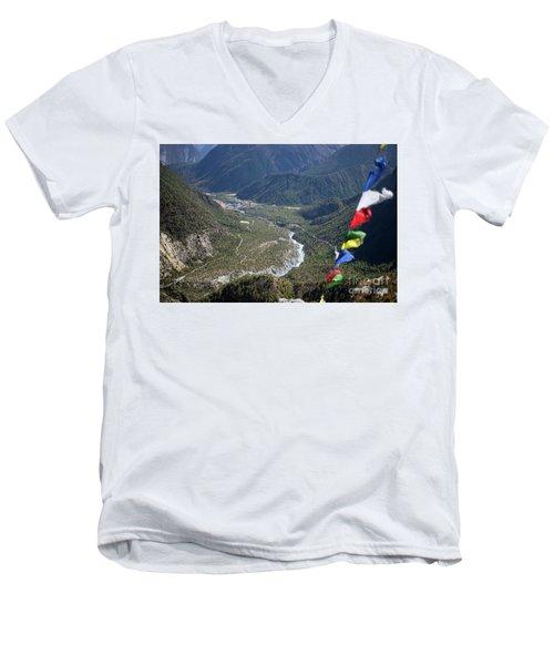 Prayer Flags In The Himalaya Mountains, Annapurna Region, Nepal Men's V-Neck T-Shirt