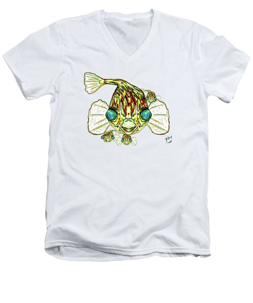 Puffer Fish Men's V-Neck T-Shirt by W Gilroy