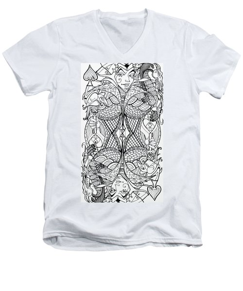 Men's V-Neck T-Shirt featuring the drawing Queen Of Spades 2 by Jani Freimann