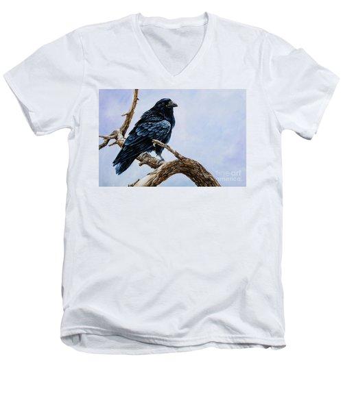 Raven Men's V-Neck T-Shirt by Igor Postash