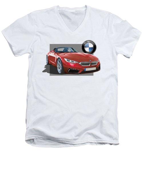 Red 2018 B M W  Z 5 With 3 D Badge  Men's V-Neck T-Shirt by Serge Averbukh