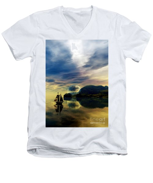 Men's V-Neck T-Shirt featuring the digital art Reflection Bay by Sandra Bauser Digital Art