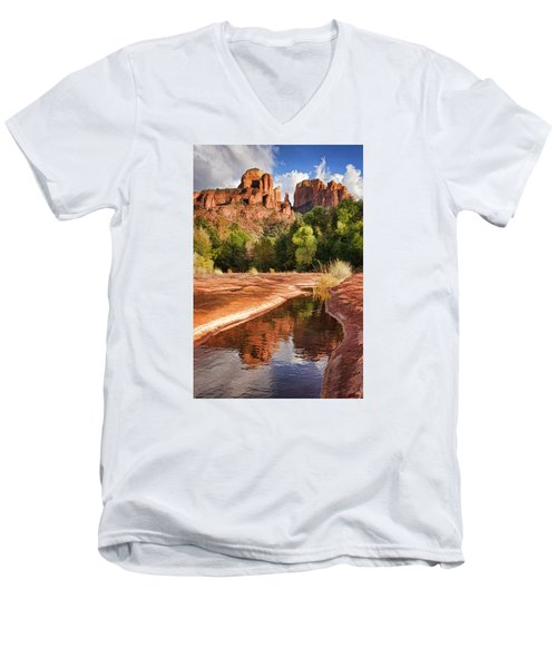 Reflections Of Cathedral Rock Men's V-Neck T-Shirt