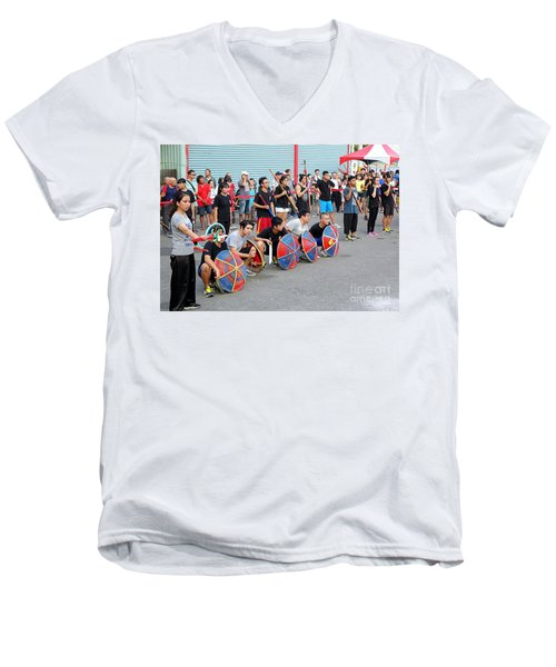 Men's V-Neck T-Shirt featuring the photograph Religious Martial Arts Performance In Taiwan by Yali Shi