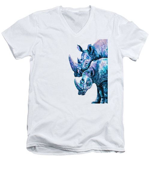 Rhinoceros Couple Men's V-Neck T-Shirt