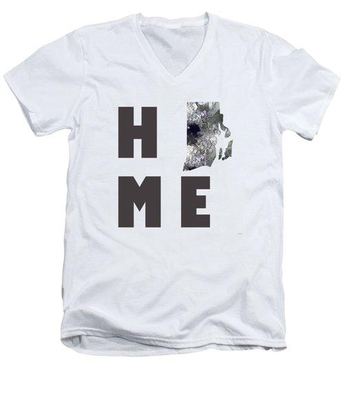 Men's V-Neck T-Shirt featuring the digital art Rhode Island State Map by Marlene Watson