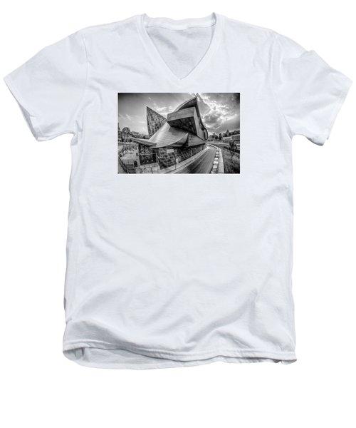 Roanoke Virginia City Skyline In The Mountain Valley Of Appalach Men's V-Neck T-Shirt by Alex Grichenko