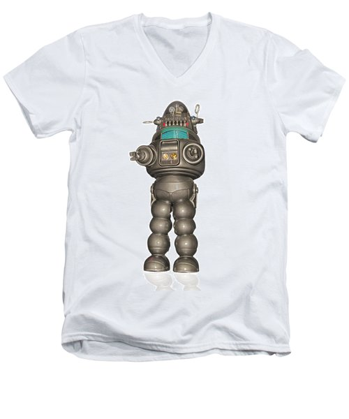Robby The Robot Men's V-Neck T-Shirt by Gary Warnimont