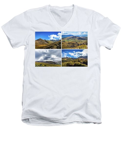Postcard Of Rock Formation Landscape With Clouds And Sun Rays In Ireland Men's V-Neck T-Shirt by Semmick Photo