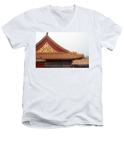 Roof Forbidden City Beijing China Men's V-Neck T-Shirt