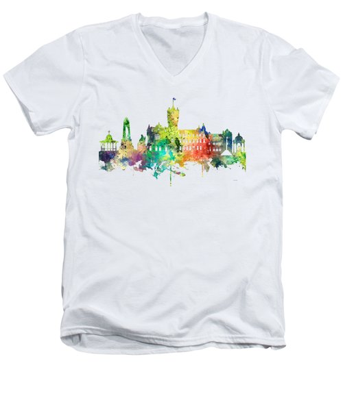 Rutherglen Scotland Skyline Men's V-Neck T-Shirt