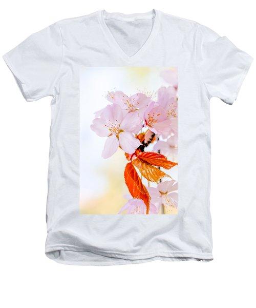 Men's V-Neck T-Shirt featuring the photograph Sakura - Japanese Cherry Blossom by Alexander Senin