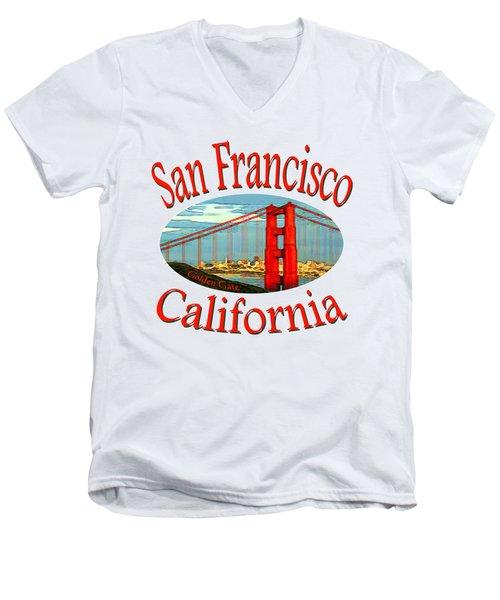 San Francisco California - Tshirt Design Men's V-Neck T-Shirt by Art America Gallery Peter Potter