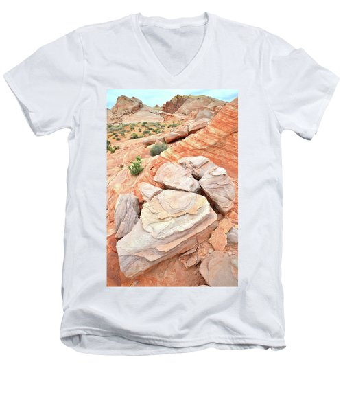 Men's V-Neck T-Shirt featuring the photograph Sandstone Cove In Valley Of Fire by Ray Mathis