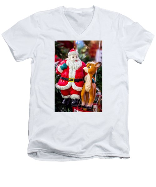 Santa And Rudolf Christmas Ornament Men's V-Neck T-Shirt