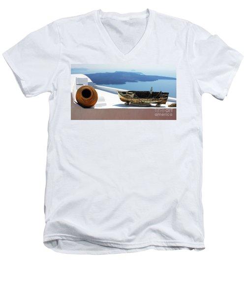 Santorini Greece Men's V-Neck T-Shirt by Bob Christopher