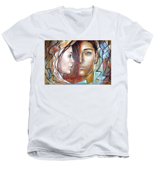 Men's V-Neck T-Shirt featuring the painting She Loves Me 140709 by Selena Boron