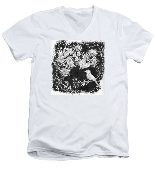 Men's V-Neck T-Shirt featuring the painting Sitting Pretty by Lou Belcher