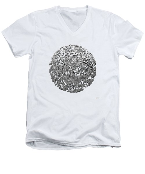 Sliver Chinese Dragon On White Leather Men's V-Neck T-Shirt by Serge Averbukh