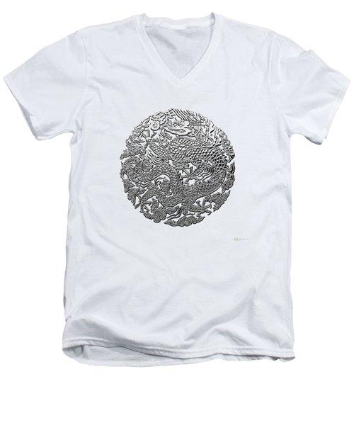 Sliver Chinese Dragon On White Leather Men's V-Neck T-Shirt