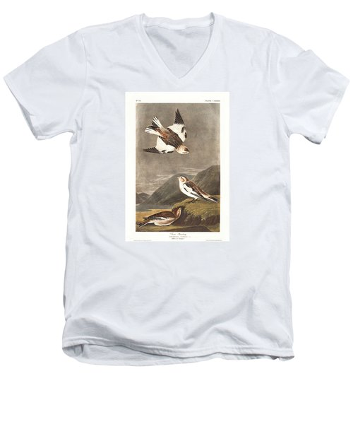 Snow Bunting Men's V-Neck T-Shirt by Dreyer Wildlife Print Collections