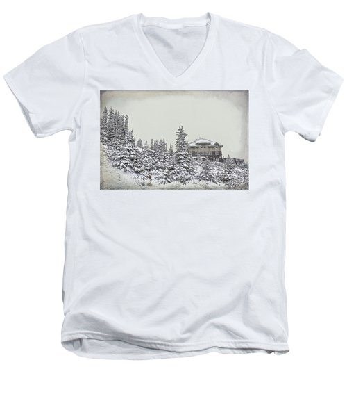 Men's V-Neck T-Shirt featuring the photograph Snow In July by Teresa Zieba