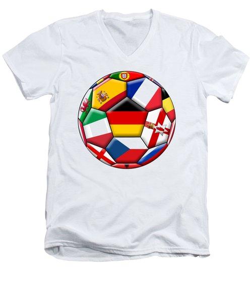Soccer Ball With Flag Of German In The Center Men's V-Neck T-Shirt by Michal Boubin