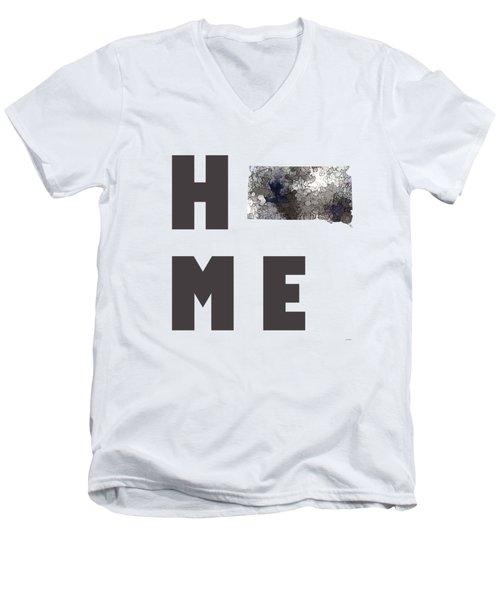 Men's V-Neck T-Shirt featuring the digital art South Dakota State Map by Marlene Watson