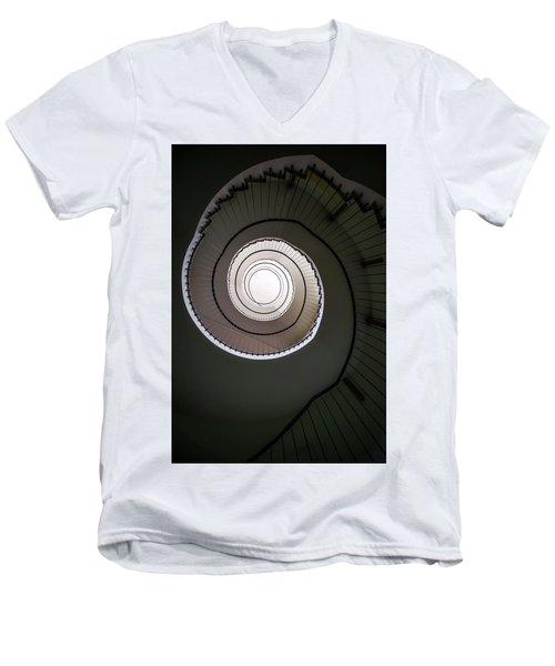 Spiral Staircase In Brown Tones Men's V-Neck T-Shirt by Jaroslaw Blaminsky