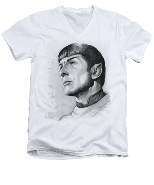 Spock Portrait Men's V-Neck T-Shirt by Olga Shvartsur
