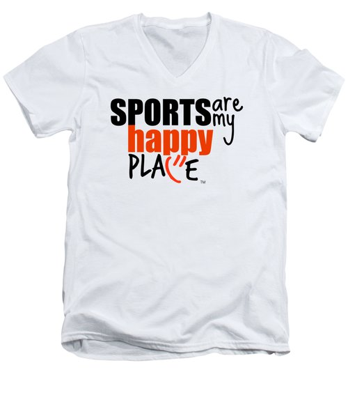 Sports Are My Happy Place Men's V-Neck T-Shirt by Shelley Overton