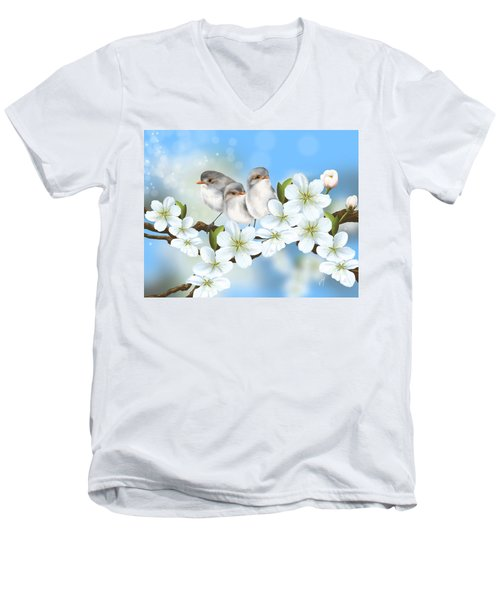 Men's V-Neck T-Shirt featuring the painting Spring Fever by Veronica Minozzi
