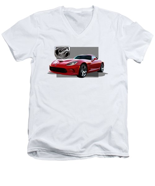S R T  Viper With  3 D  Badge  Men's V-Neck T-Shirt by Serge Averbukh