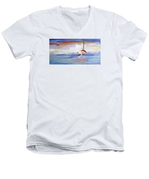 Stillness Men's V-Neck T-Shirt by Trina Teele