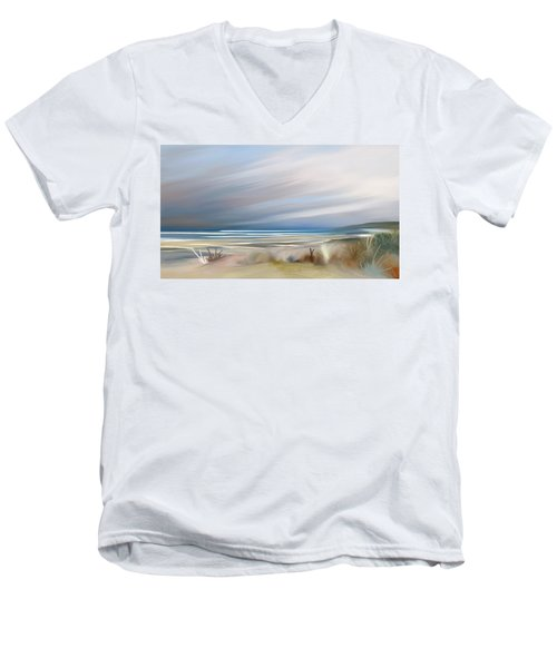 Storm Over Beach Men's V-Neck T-Shirt by Anthony Fishburne